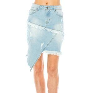 MUTJEANS peculiar asymmetric LT denim mini skirt